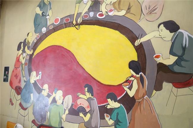 成都火锅店墙绘案例为你展示火锅店的文化氛围