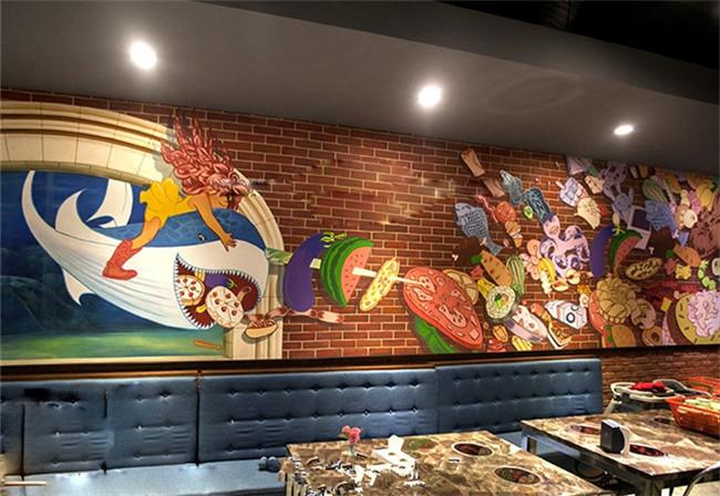火锅店3d手绘墙