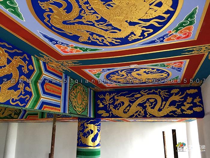 艺匠彩绘专业寺庙大殿彩绘,擅长和玺彩绘,旋子彩绘,苏式彩绘图片